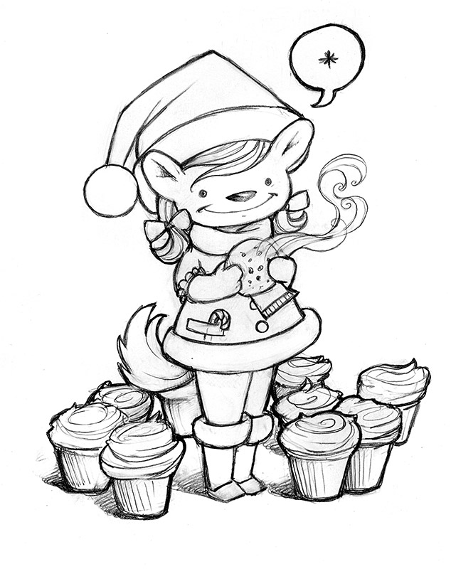 a cute lil christmas thing that s half mouse bunny and some other